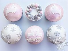 Pastel pink and white Christmas cupcakes