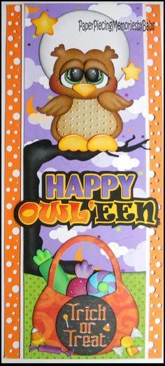 Created by PAPER PIECING MEMORIES BY BABS. Owl Halloween Scrapbook Border