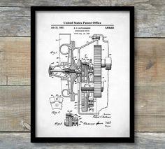 Supercharger Patent Print,  Art Print, Patent Poster, Auto Art, Blueprint Art, Automotive Art, Automotive Decor, Car Part Blueprint, P479 by NeueStudioArtPrints on Etsy