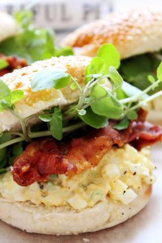 Egg Mayo, Crispy Bacon and Watercress Baps is the perfect kind of brunch recipe! Brunch Recipes, Breakfast Recipes, Great Recipes, Healthy Recipes, Appetisers, Salmon Burgers, Baked Potato, Magazine Recipe, Bacon