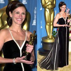 La actriz Julia Roberts gana el Oscar con el espectacular vestido de Valentino y su emblemática V.