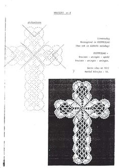 Bilderesultat for bobbin lace cross Hairpin Lace Crochet, Crochet Cross, Crochet Motif, Crochet Shawl, Crochet Edgings, Bobbin Lace Patterns, Bead Loom Patterns, Crochet Patterns, Bobbin Lacemaking
