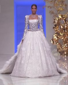 Uniq Embellished A-Lane Princess Wedding Dress / Bridal Ball Gown with Long Sleeves and Cathedral Train. Collection Courtyard by Guo Pei Uniq Embellished A-Lane Princess Wedding Dress / Bridal Ball Gown with Long Sleeves and Cathedral Train. Dream Wedding Dresses, Bridal Dresses, Wedding Gowns, Reception Dresses, Lace Wedding, Lovely Dresses, Beautiful Gowns, Ball Dresses, Ball Gowns