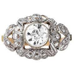 Art Nouveau diamond gold platinum Engagement Ring
