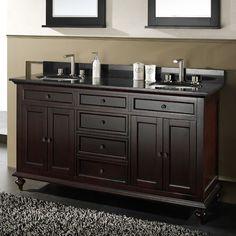 """60"""" Merlot Double Sink Vanity Cabinet"""