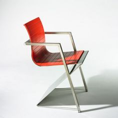 REINHARD MULLER    d8 armchair    Pentagon  Germany, 1987  stainless steel, rubber  21 w x 20 d x 31.5 h inches