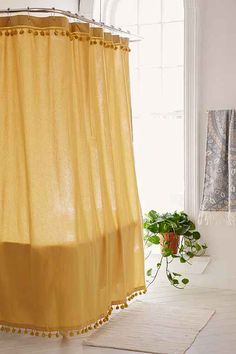 Magical Thinking Pompom Shower Curtain - Urban Outfitters The Most Useful Bathroom Shower Ideas Ther Yellow Shower Curtains, Bathroom Shower Curtains, Shower Curtain Boho, Shower Tiles, Houses Architecture, Do It Yourself Decoration, Rustic Wall Mirrors, Small Showers, Boho Bathroom
