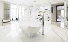 White bathroom with marble floors in Tom Cruise's London Penthouse // Interior Designer Paul Davies