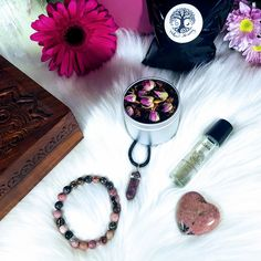 """🌿💜 Rhodonite Gift Box 💜🌿  Rhodonite is known as the """"rescue stone,"""" it's one of the most powerful heart healing Chakra stones  Rhodonites healing properties are an excellent remedy for calming frayed nerves, it is said to replace anxiety, fear, and anger with warm and fuzzy emotions like self-worth, well-being and stability...all the characteristics that make you feel like the real you.  Fun Fact: Russian Czars would present Rhodonite as wedding gifts at Royal Weddings. Chakra Stones, Royal Weddings, Gift Boxes, Calming, Stability, Fun Facts, Anxiety, Wedding Gifts, Warm"""