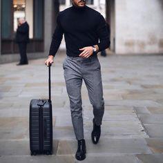 Mens solid plain choker sweater w 2019 zaki outfit grid mens Fashion Mode, Fashion Night, Suit Fashion, Classy Mens Fashion, Fashion Boots, Style Fashion, Fashion Ideas, Fashion Black, Fashion Tips