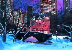 christmas in new york city | New York City - Christmas Eve In Central Park Painting