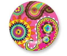 French Bull Melamine Plates, Pink Paisley Design, Set of 6 Pottery Painting, Ceramic Painting, Buddha Canvas, Arte Popular, Paisley Design, Mosaic Art, Painted Rocks, Collages, Stencil