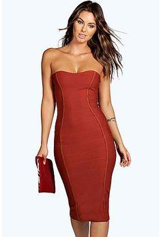 Gia Bandeau Bandage Midi Bodycon Dress