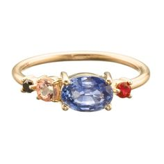 Polaris Cluster Ring from Unexpected Unions collection. Oval cut Blue Sapphire ranges in weight from .66ct - 1.08ct. Round cut Imperial Topaz weighs approximately .15ct. Round cut Pigeon's Blood Ruby approximately .06ct. Round cut Black Diamond approximately .04ct. 1.7mm round wire shank and set in 14k yellow gold. If you're interested vist the store, email mociun@mociun.com or call 7183873731 #mociun #mociunjewelry #unexpectedunions #diamonds #blackdiamonds #ruby