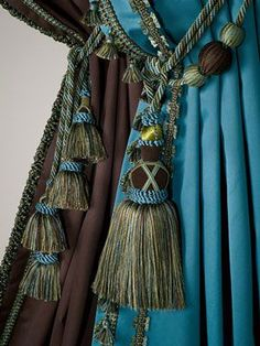 Blue and brown drapery tassel Window Coverings, Window Treatments, Teal, Turquoise, Peacock Blue, Curtain Tie Backs, Curtain Call, Passementerie, Window Dressings
