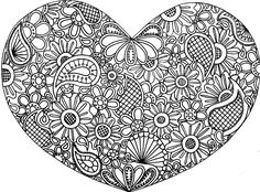Heart Zentangle Doodle Drawing Lineart by *KatAhrens on deviantART Abstract Coloring Pages, Heart Coloring Pages, Mandala Coloring Pages, Colouring Pages, Printable Coloring Pages, Coloring Pages For Kids, Coloring Books, Coloring Sheets, Kids Coloring