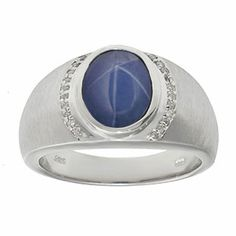 Men's Oval-Cut Blue Star Sapphire and Diamond Ring In White Gold Gemologica.com offers a large selection of rings, bracelets, necklaces, pendants and earrings crafted in 10K, 14K and 18K yellow, rose and white gold and sterling silver for that special dad. Our complete collection and sale of personalized and custom gifts for dad: www.gemologica.com/mens-jewelry-c-28.html