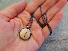 EARTH BOUND, STERLING SILVER & COPPER GEMSTONE COIN BEAD NECKLACE
