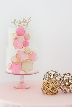 Pink and gold geo cake