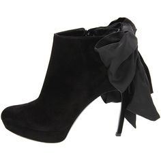 big floppy bow ankle boots