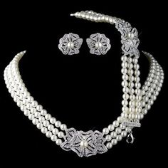 Stunning White Pearl & Ab Crystal Bride Wedding Formal Necklace Jewelry Set Chic Fixing Prices According To Quality Of Products Engagement & Wedding