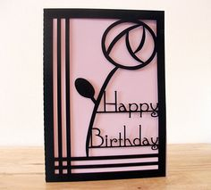 A striking rose papercut Birthday card, imitated in the Art Deco style of Charles Rennie Mackintosh - Envelope included, choose your colors.