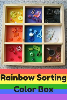 Rainbow Sorting Color Box - Practice sorting items by color, improve fine motor skills, learn colors, and practice counting.#etsy#handmade#waldorf#montessori#preK#kindergarten#ad