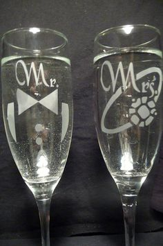 Pair of custom etched Mr. and Mrs. Champagne Flutes- FREE PERSONALIZATION