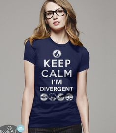 Keep Calm Divergent T-Shirt | Divergent Fan Shirt | Men's Women's and Kid's sizes. Available from Boots Tees (Pictured: Women's Navy Tee)