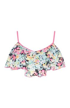 Pink bikini top s květinovým potiskem a poskakovat