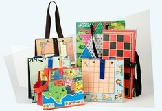 Turn old board games into tote bags!