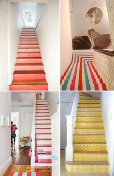 I love painted stairs. They make me think of my summer house (in my dreams. Here are some stairs that will definitely inspire! ombre stairs // striped stairs at kate spade london pop-up shop // Painted Staircases, Painted Stairs, Spiral Staircases, Interior Architecture, Interior Design, Basement Stairs, Porch Stairs, Loft Stairs, Staircase Design