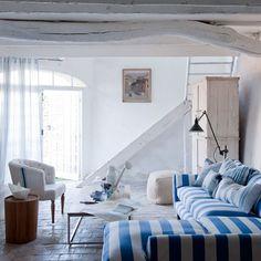 Bold gestreiften Wohnzimmer Wohnideen Living Ideas Interiors Decoration