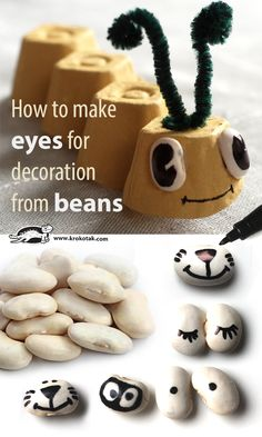 How to make eyes for decoration from beans (πώς να φτιάξουμε μάτια -για τις κατασκευές μας- με φασόλια)