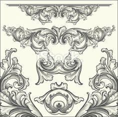 hand engraved Ornate Scrollwork Elements Royalty Free Stock Vector Art Illustration