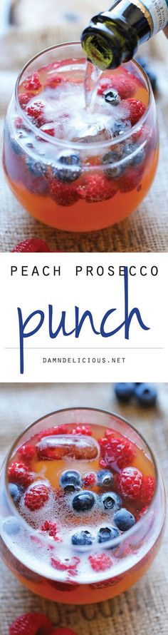Peach Prosecco Punch - An incredibly refreshing, bubbly party punch made with Prosecco, peach nectar and fresh berries! Perfect for Mother's Day brunch. Party Drinks, Fun Drinks, Beverages, Cocktail Party Food, Cocktail Party Effect, Alcoholic Drinks, Fruit Party, Refreshing Drinks, Summer Drinks
