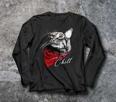 'Cat Chill T-Shirt Cat lover gift for men and women petlover' T-Shirt by Gifts For Pet Lovers, Cat Lovers, Crew Neck Sweatshirt, Pullover, T Shirt, Buy A Cat, Halloween Gifts, Men And Women, Hoodies