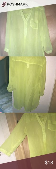 Neon green shirt Sheer neon shirt. Used but good condition. Ask questions for more information Paper tee Tops Blouses