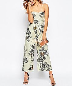 Love this Ivory & Charcoal Floral Strapless Jumpsuit - Plus Too on #zulily…
