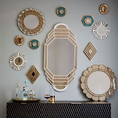 Peruvian artisans hand-carve these mirrors using a centuries-old technique once used to make religious sculptures. Inspired by the elaborate designs found in traditional colonial-style homes in Peru, they instantly dress up any wall space. Wall Mirrors Metal, Small Mirrors, Decorative Mirrors, Handmade Mirrors, Metal Frames, Bathroom Mirrors, Round Mirrors, Small Bathroom, Mirror Gallery Wall