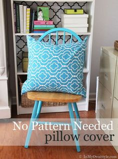 Sew a pillow cover with no pattern needed. Step-by-step tutorial show you how easy it is to make to decorate your home.