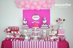 AZUCAR FLOR party studio: Hello Kitty (fiesta Andrea) Hello Kitty Baby Shower, Hello Kitty Birthday, Hello Kitty Themes, Hello Kitty Dress, Cat Party, Unicorn Party, Baby Shower Parties, Party Planning, Birthday Parties
