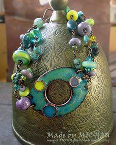 FARHEEN  Copper Enamel Art  Bracelet  enameled by MichouJewelry, $179.00