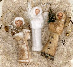 Cotton Batting Ornaments- Link To Instructions Victorian Christmas Ornaments, Shabby Chic Christmas, Antique Christmas, Christmas Past, Vintage Ornaments, Handmade Ornaments, Christmas Angels, Holiday Ornaments, Handmade Christmas