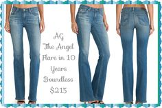 These AG-ed denim is an ode to vintage, emulating naturally aged denim ranging from 1-30 years old. A pair of AG-ed jeans is as close as you can get to that unique vintage flea market find. Boot cut. A go-to boot cut w/ a slender fit through the knee that opens into a subtle flare.This leg-elongating silhouette is built to flatter in mid-blue stretch denim with generous distressing. Easy fading and slivers of whiskering add an authentically broken-in character 2 the 10 Years Boundless wash!