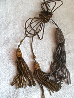 Antique Tassels Silver & Gold Vintage Braid French Art Deco / 3 pc Burlesque Period Dressing Authentic 1910s Furnishings Home Decor by BrocanteArt on Etsy