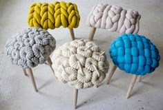 Ever see something that you're not sure you could live with and yet you can't forget? -- Here are some of mine -- knit stitched wool furniture -- gosh...hmm-m...wow...