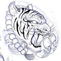 Tiger Tattoo Sleeve, Lion Tattoo, Sleeve Tattoos, Tattoo Sketch Art, Tattoo Drawings, Body Art Tattoos, Japan Tattoo Design, Tiger Tattoo Design, Chinese Tattoo Designs