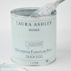Laura Ashley Duck Egg decorative furniture paint on Torie Jayne Laura Ashley Furniture Paint, Laura Ashley Paint, Laura Ashley Home, Furniture Care, Furniture Decor, Painted Furniture, Upcycled Furniture, Painting Tips, Fabric Painting