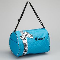 Special Offers - Girls Kids Dance Duffle Bags  Quilted Zebra Pattern Ribbon & Bow (Blue) - In stock & Free Shipping. You can save more money! Check It (April 16 2016 at 07:13AM) >> http://sofaarmchairusa.net/girls-kids-dance-duffle-bags-quilted-zebra-pattern-ribbon-bow-blue/